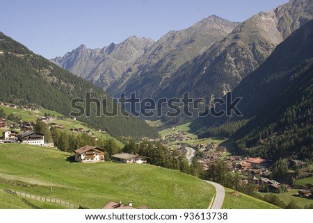 View over the valley in the mountains, Solden Austria - stock photo