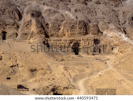 View over the Valley of Kings near Luxor. Travel in Egpyt, famous Egyptian landmarks. Archaeological research in the mountains of the Valley of the Kings in the ancient Egyptian capital of Thebes. - stock photo
