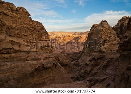View over the valley of the ancient city Petra in todays Jordan. - stock photo