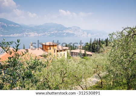 View over the village of Castelletto at Lake Garda - stock photo