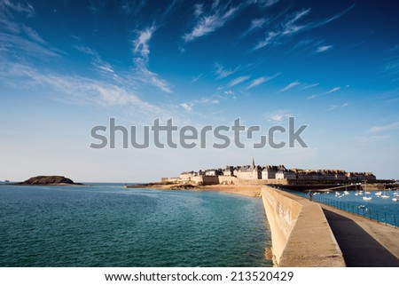 View over the walled city Saint-Malo from mole, Brittany, France - stock photo