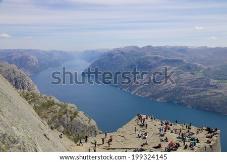 View over the world famous Preikestolen - or pulpit rock - over the Lysefjord, Norway