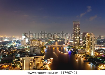 View over twilight city - stock photo
