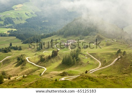 View over valley of European Alps, Tyrol - stock photo