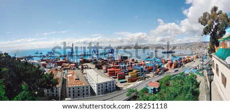 View over Valparaiso harbor industry, Chile - stock photo
