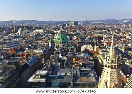 view over Vienna in snow with clear sky - stock photo