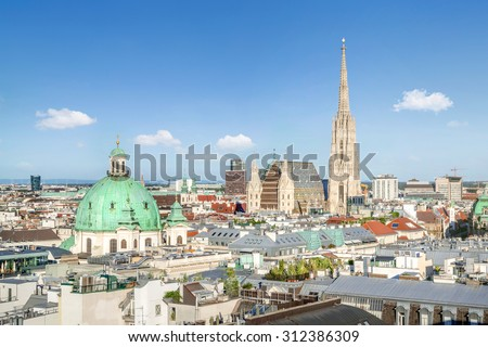 View over Vienna Skyline with St. Stephen's Cathedral, Vienna, Austria - stock photo