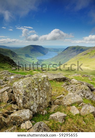 View over Wasdale and Wastwater from Beck Head in the English Lake District - stock photo