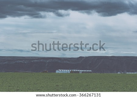 View over wheat fields from Steptoe Butte, Palouse Valley, eastern Washington State. - stock photo