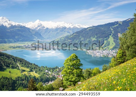 View over Zell am See in Summer, Austria - stock photo