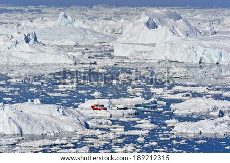 View overlooking the icefjord of the Jakobshavn glacier, outside Illulisat, Greenland. T - stock photo