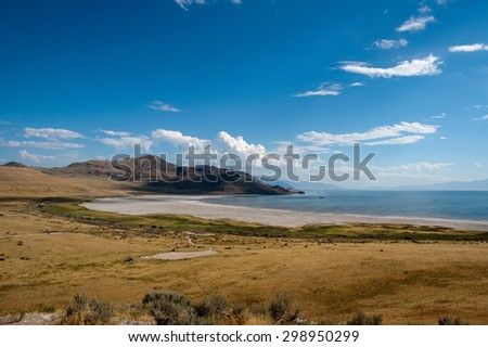 View overlooking the Salt Lake shore in Utah - stock photo
