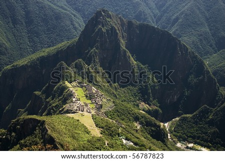 View overlooking the site of the lost Inca city of Macchu Picchu