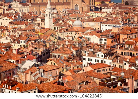 View overlooking tile rooftops in Venice, Italy - stock photo