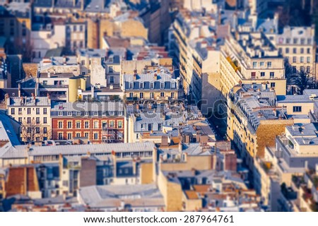 View point from Montparnasse area with tilt shift effect - stock photo