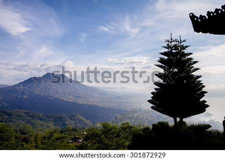 view point of Batur volcano on Bali island, Indonesia - stock photo