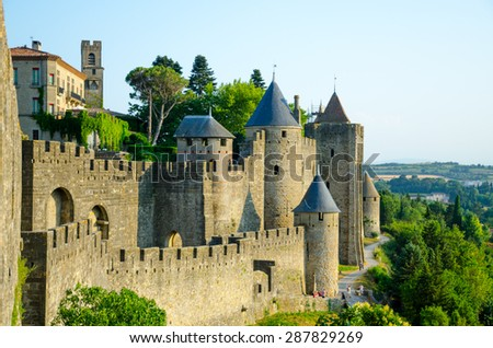 View point of Cite de Carcassonne, France
