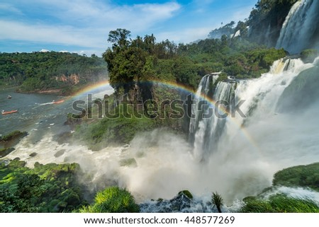 View point of Iguazu falls with Rainbow ,  Puerto Iguazu -  Argentina