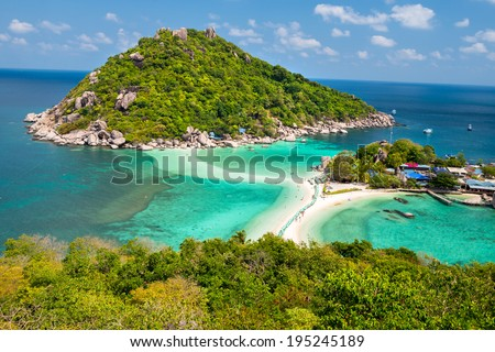 View point of Nang Yuan island of Koh Tao island Thailand - stock photo