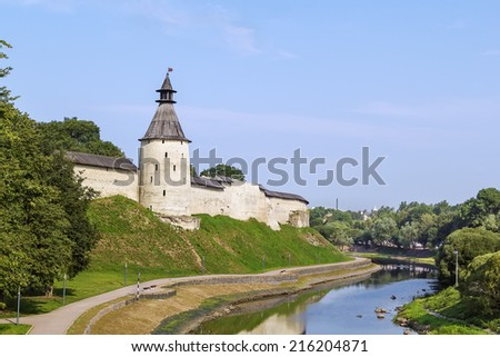 view Pskov Krom (Kremlin) wall from Pskova River, Russia