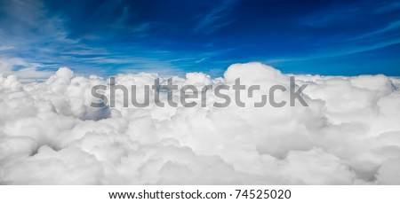 view sky from an airplane - stock photo
