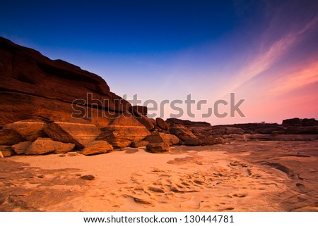 View Stone Mekong River sunset  Sam-Pan-Bok Grand Canyon in thailand - stock photo