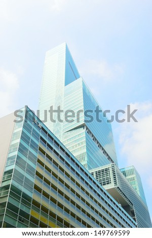 view tall buildings in Osaka, Japan - stock photo