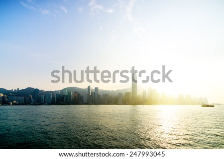 View the city at night from Kowloon. Hong Kong. China. - stock photo