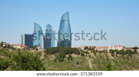 View the Flame tower from the hill, Baku - stock photo