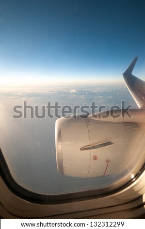 view through airplane the window - stock photo