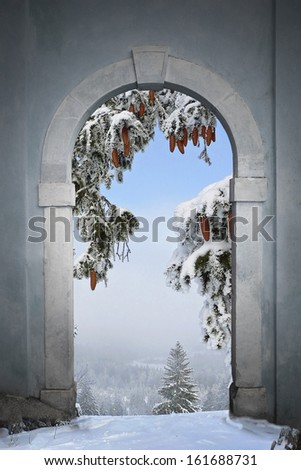view through arched gate to winter landscape - stock photo