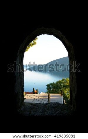 View through arched window fortress Shpanola (Montenegro)