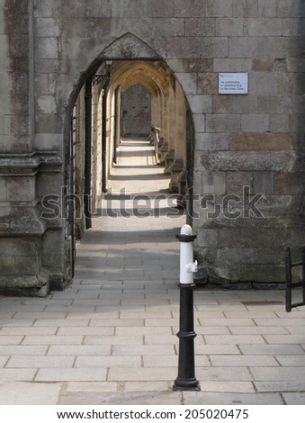 View through cathedral flying buttresses - stock photo