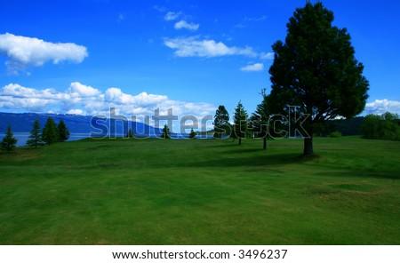 View through golf course,Valley County Idaho - stock photo