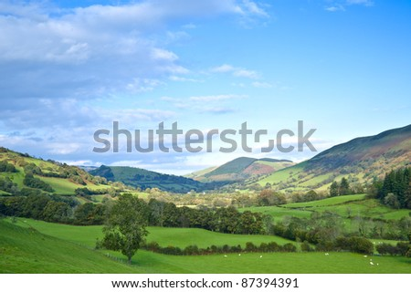 view through the lustrous valleys of mid wales - stock photo