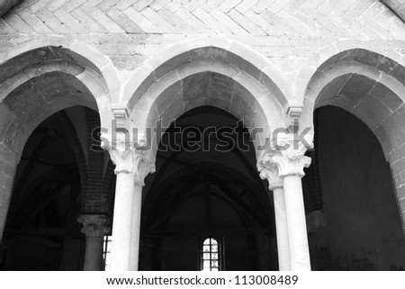 View through the San Michele Abbey archs ( Italy ) - stock photo