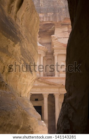 View through the Siq to the Treasury (Al Khazneh), Petra, Jordan.