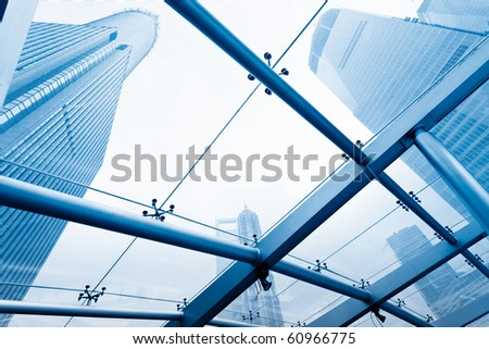 view through the window, Skyscrapers at Lujiazui Financial Center of shanghai china. - stock photo