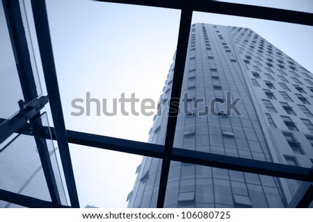 view through the window, with the background of skyscrapers. - stock photo