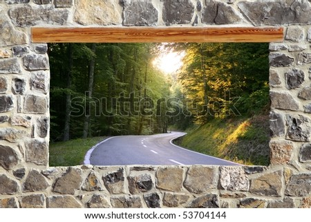 view through window road forest curve masonry wall [Photo Illustration] - stock photo