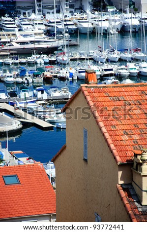View to a bay with yachts in Cannes, Cote d'Azur, France - stock photo