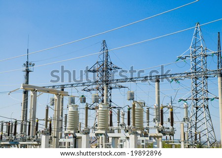 view to ac substation high voltage - stock photo