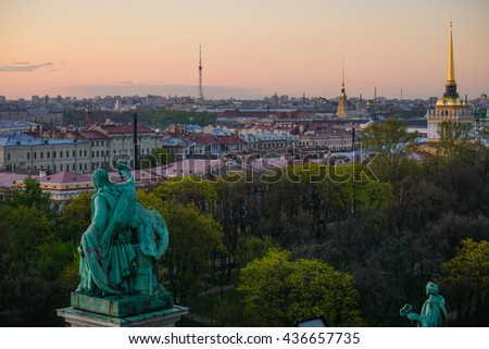 View to Admiralty, palace (Hermitage) and Peter and Paul's fortress in St.Petersburg, Russia - stock photo