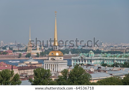View to Admiralty, Winter palace (Hermitage) and Peter and Paul's fortress in St.Petersburg, Russia. - stock photo