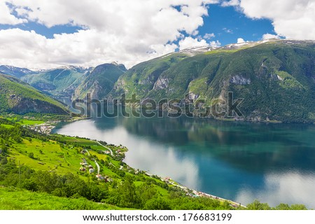 View to Aurlandsfjord a branch of Sognefjord from Stegastein viewpoint, Norway - stock photo