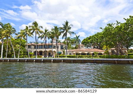 view to beautiful houses from the canal in Fort Lauderdale - stock photo