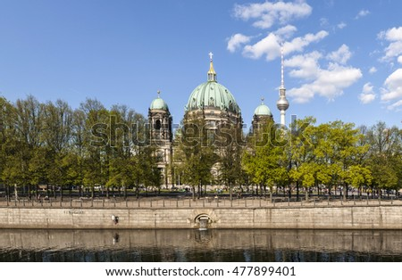 view to Berlin Dome with river spree in foreground