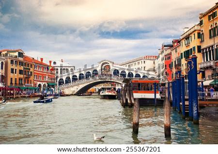 View to Bridge Rialto, Venice, Italy - stock photo