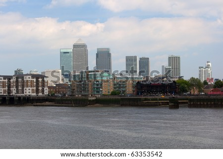 View to Canary Wharf from Thames River in Docklands. London. UK.