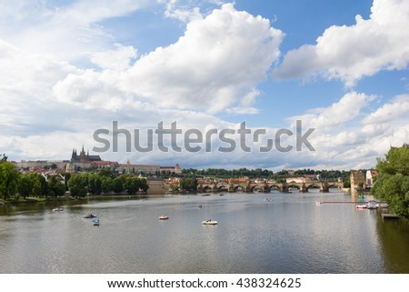 View To Charles Bridge, Hradschin Castle With St. Vitus Cathedral At River Vltava In Prague Czech Republic